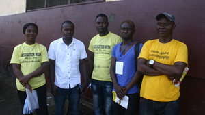 A group of community health volunteers in the West Point township of Monrovia. Jescina Washington is at the far left and Hassan Newland is second from the left.