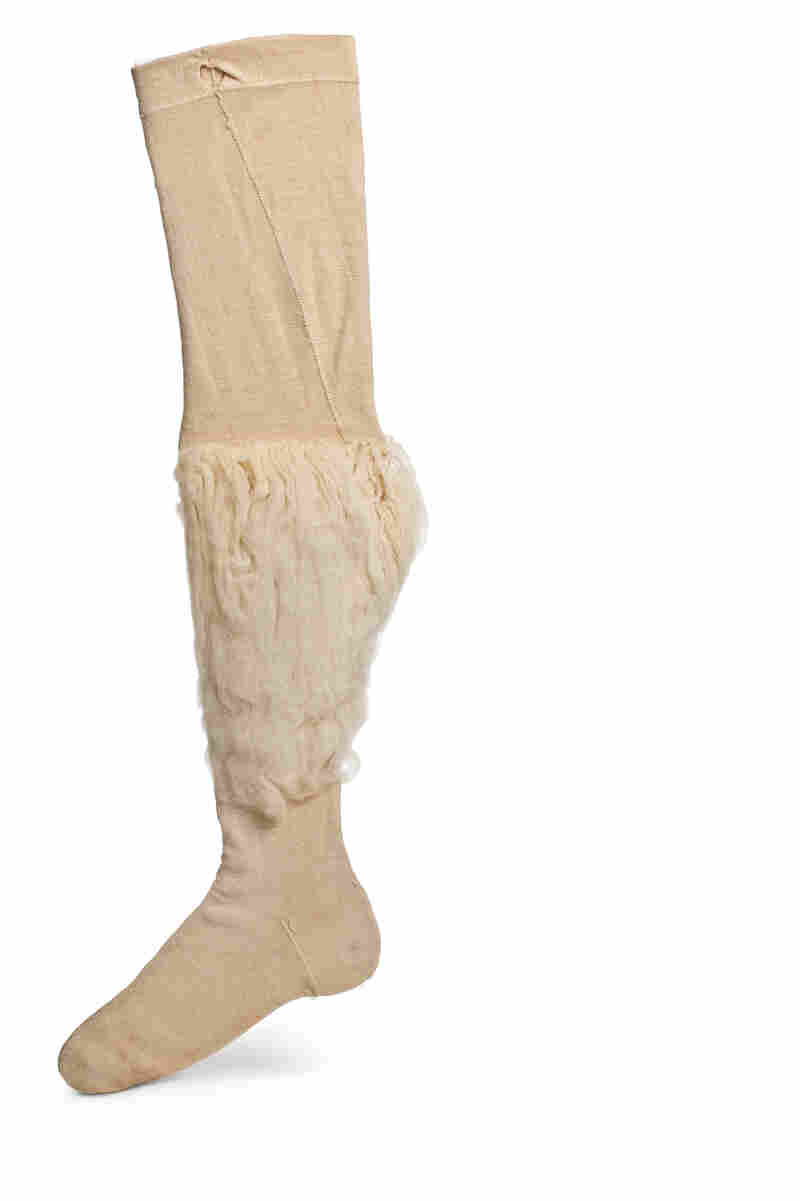 Men's clothing in the second half of the 18th century focused on the calves, and many man wore padded wool stockings like this.