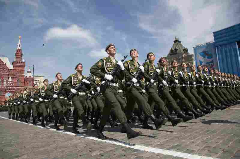 Russian soldiers march during the Victory Parade marking the 70th anniversary of the defeat of the Nazis in World War II, in Red Square in Moscow, Russia on Saturday.