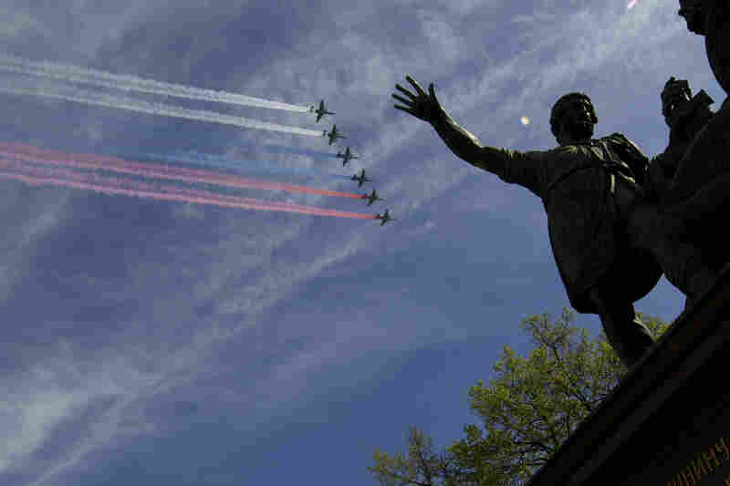 Russian army planes fly over the Red Square during the Victory Parade.