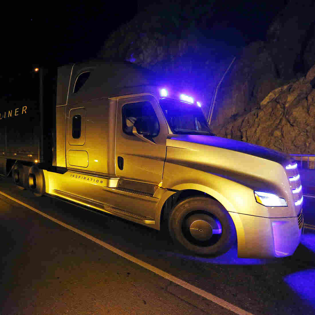 The Daimler Freightliner Inspiration, a self-driving long-haul truck, is seen during an event at the Hoover Dam, May 5, 2015, near Boulder City, Nev.
