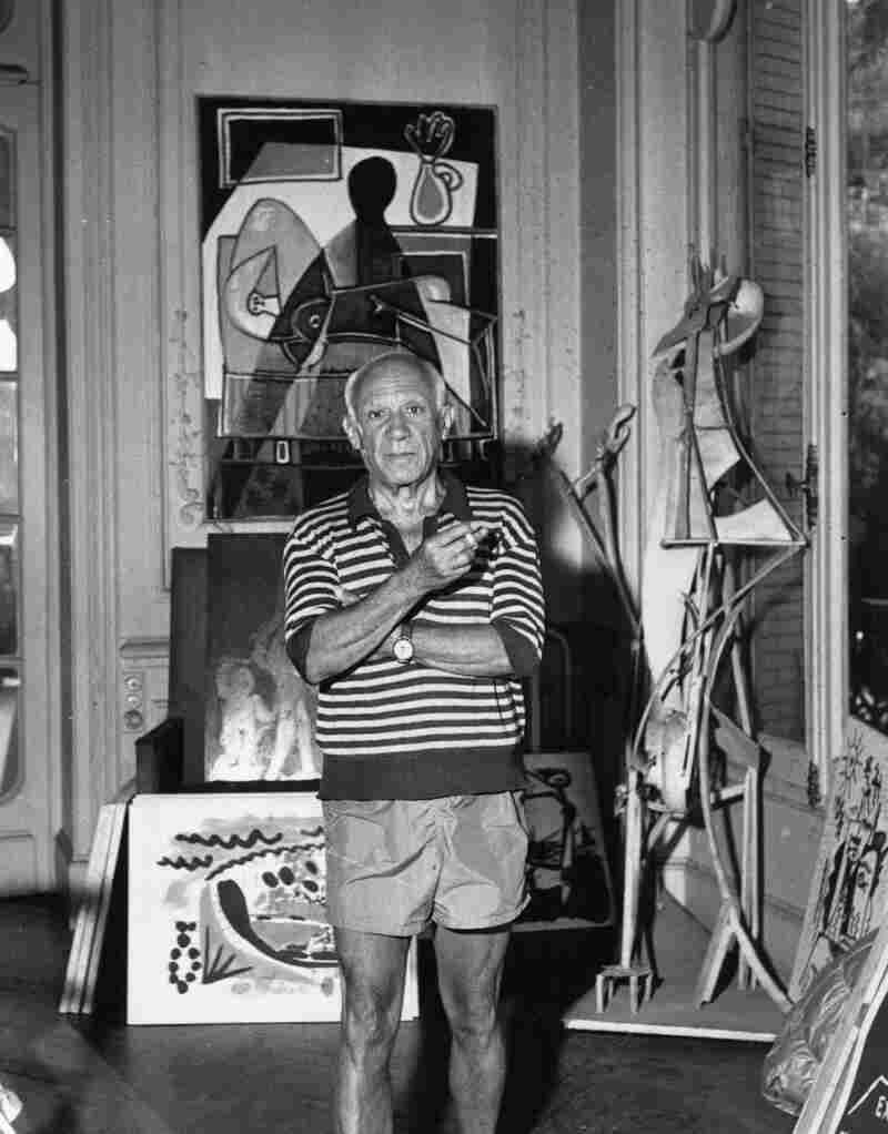 Spanish painter Pablo Picasso is photographed in 1955, the year he completed his Women of Algiers series, in his villa, La Californie, in Cannes, France.