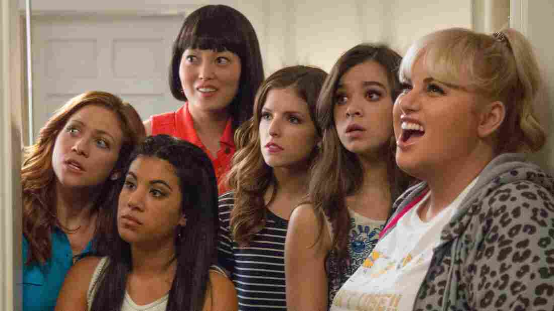 Chloe (Brittany Snow), Flo (Chrissie Fit), Lilly (Hana Mae Lee), Beca (Anna Kendrick), Emily (Hailee Steinfeld) and Fat Amy (Rebel Wilson) are the Barden Bellas in Pitch Perfect 2.
