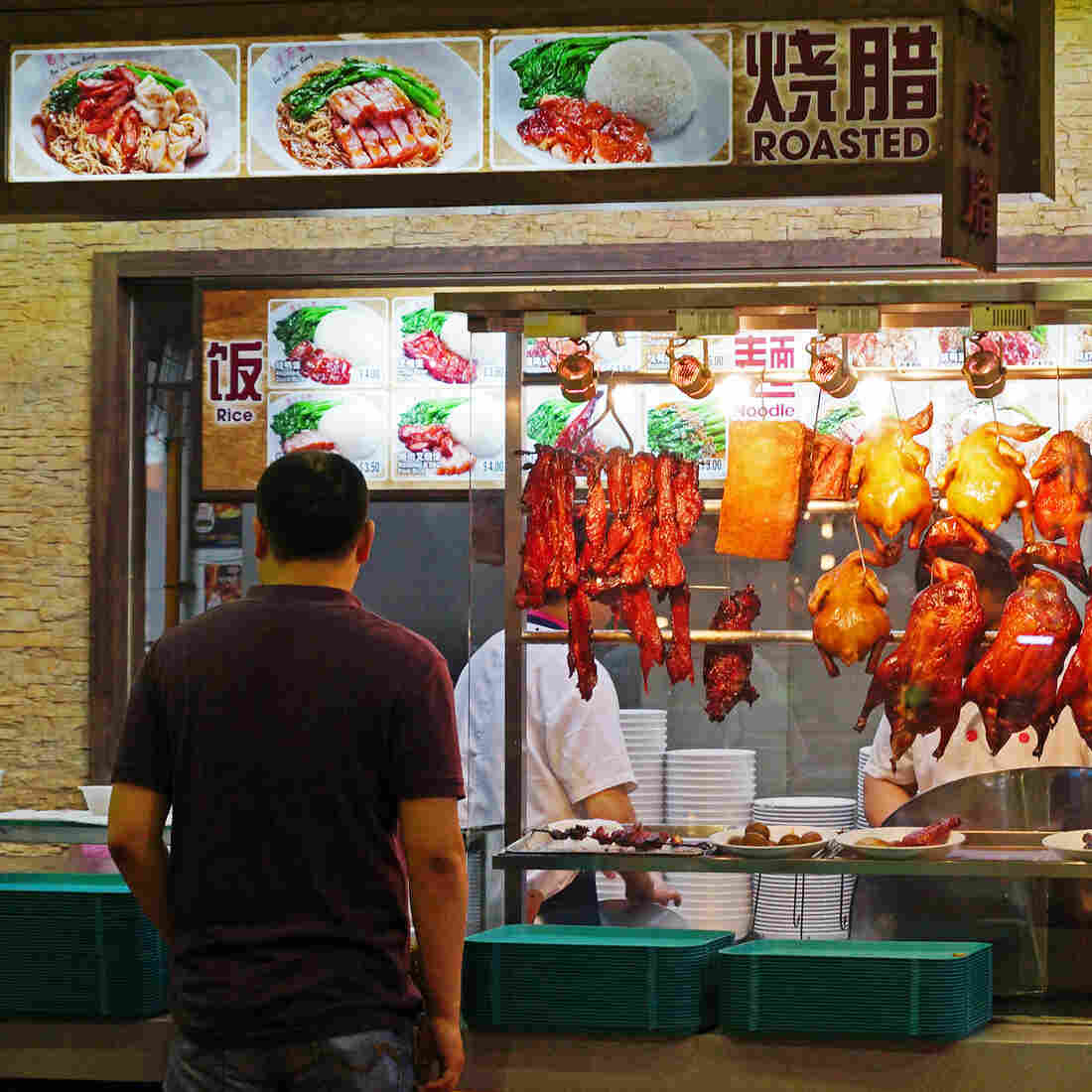 """A food market in Singapore in 2012. The U.S. government says that American farmers can help """"fill the void"""" being created by rising demand for meat in countries like Singapore through the Trans-Pacific Partnership."""