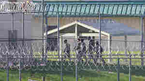 Armed personnel patrol the grounds of the Tecumseh State Correctional Institution, in Tecumseh, Neb., on Monday.