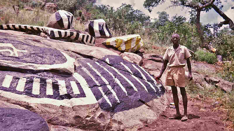 Nukain Mabuza paints his stone garden in the mid-1970s.