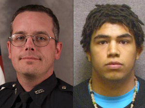This combination made with file photos provided by the Madison, Wis., police department and Wisconsin Department of Corrections shows Madison Police officer Matt Kenny (left) and Tony Robinson, a biracial man who was killed by the officer. Kenny shot the unarmed 19-year-old in an apartment house on March 6.