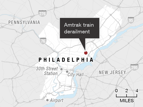 Site of Amtrak derailment in Philadelphia.