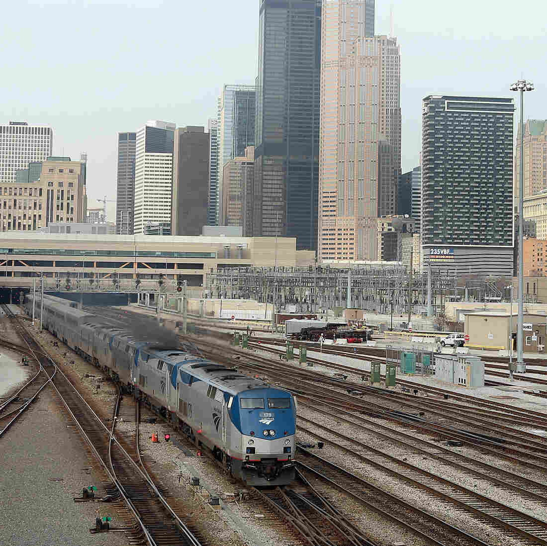 An Amtrak train leaves Chicago's Union Station on its way to Los Angeles.