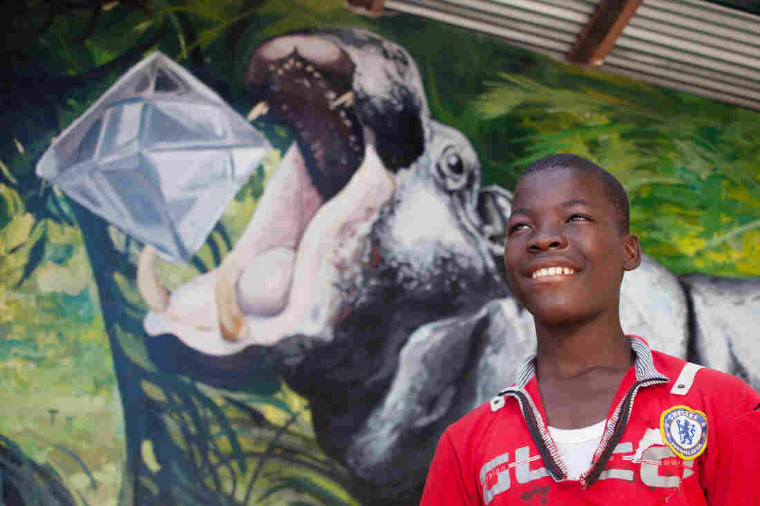 Abel Dassin, 14, had a hand in painting the hippo's skin. (The diamond in its mouth is part of local folklore — if you find a hippo and don't kill it, the animal will give you a gem.)