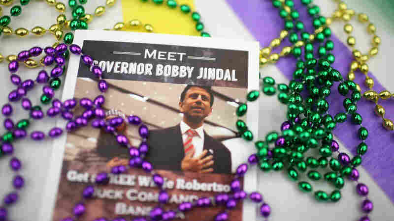 Campaign material for Louisiana Gov. Bobby Jindal sits on a table at the Republican Party of Iowa's Lincoln Dinner.