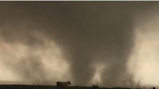 A tornado in Elmer, Okla., on Saturday.