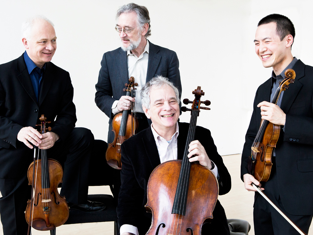 After 42 years, cellist Joel Krosnick (foreground, left) is bidding farewell to the Juilliard String Quartet.
