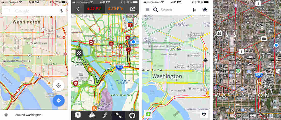 Four different apps can sometimes present four different routes. Screenshots of a few of the apps All Things Considered host Robert Siegel tested, from left to right: Google Maps, Inrix, Nokia Here, and Apple Maps.
