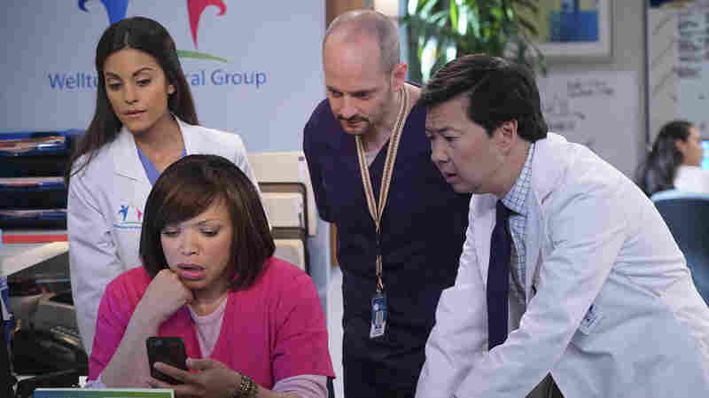 Ken Jeong, right, stars in the new ABC series Dr. Ken. Jeong appears with, from left, Kate Simses, Tisha Campbell-Martin and Jonathan Slavin.