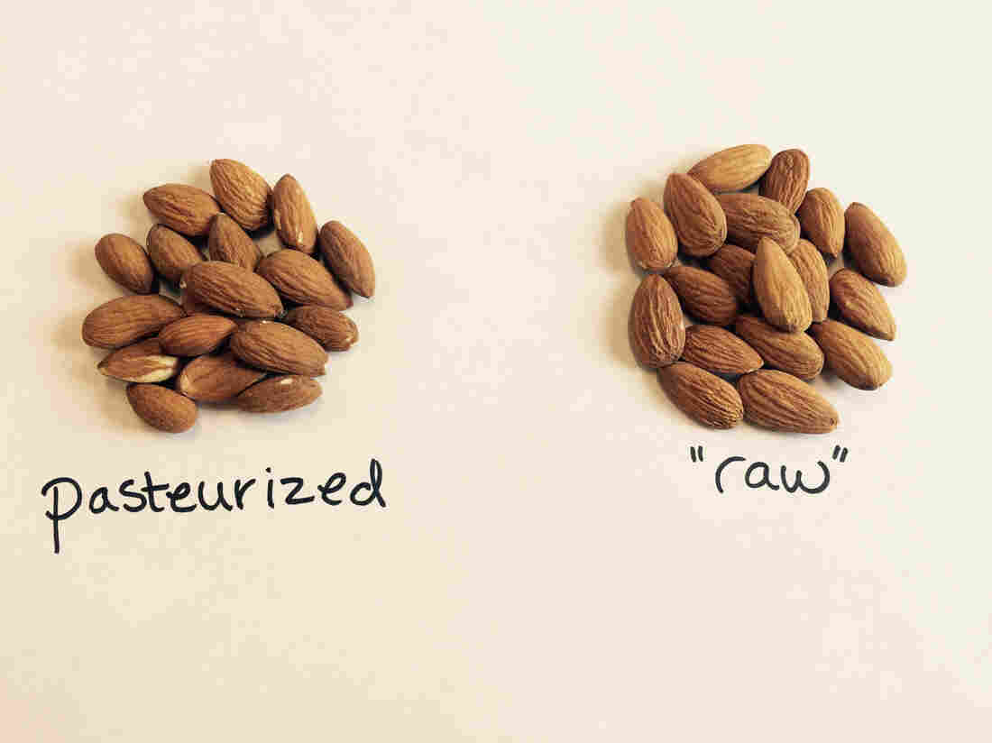 "Left: Raw California almonds that have been pasteurized, as required by law. Right: Unpasteurized almonds, which some critics argue are the only really ""raw"" nuts."