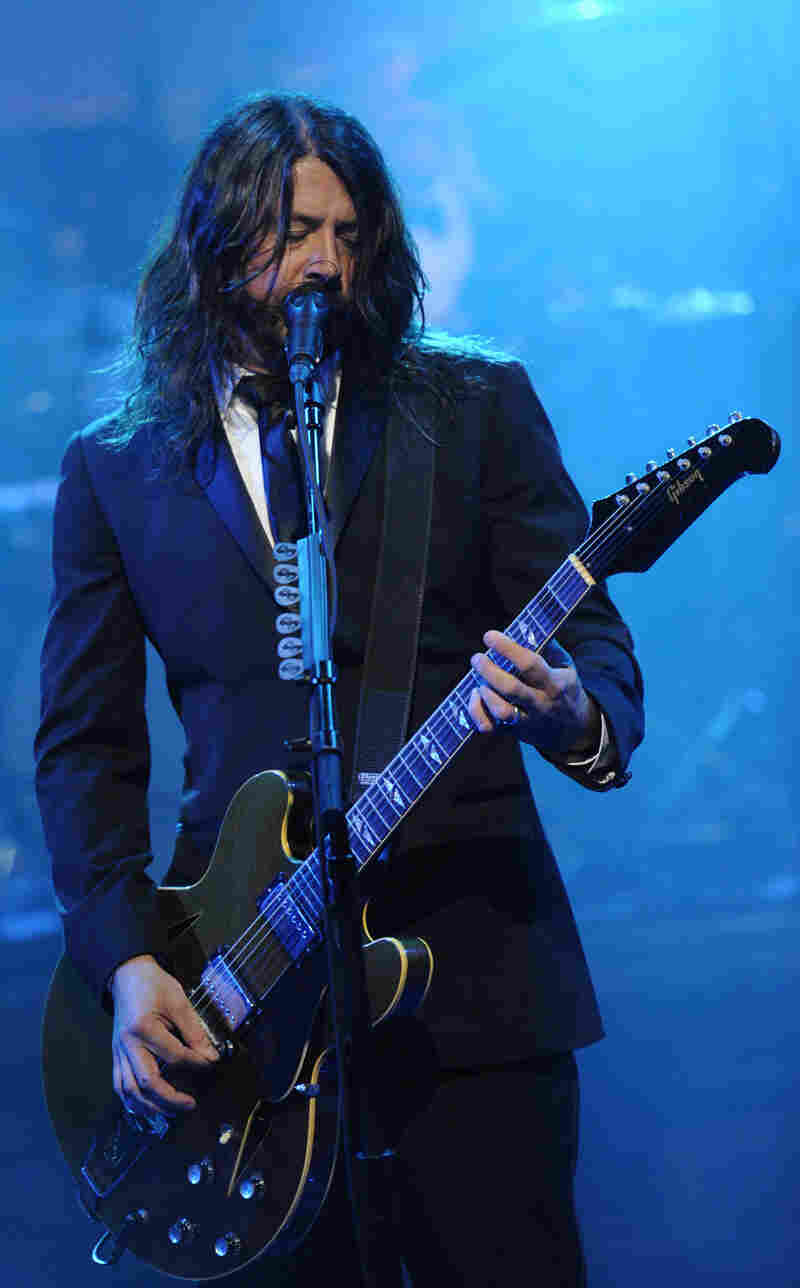 Dave Grohl of Foo Fighters performs during David Letterman's final Late Show broadcast Wednesday.