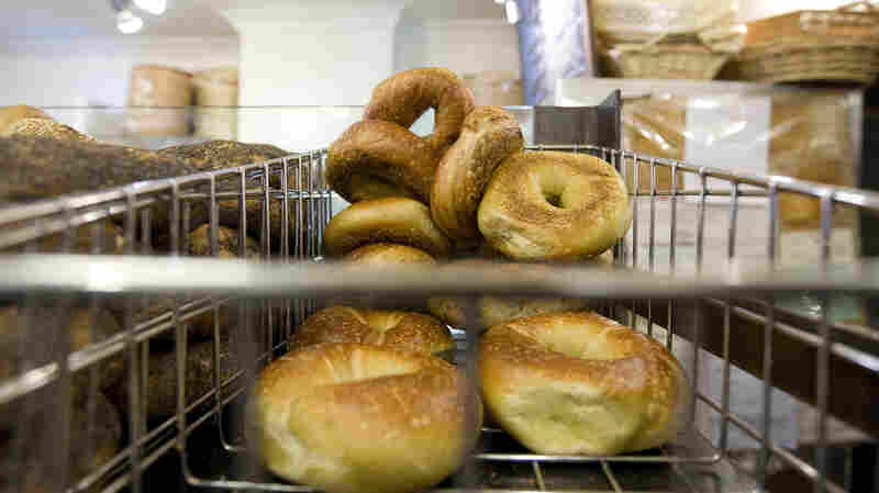 Bagels on display at Murray's Bagels store on Eighth Avenue in New York. Murray's still uses the traditional boiling method to make its bagels.