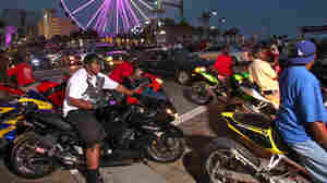 Motorcycles and cars battle for lanes along Ocean Blvd in Myrtle Beach, S.C., in May 2012.