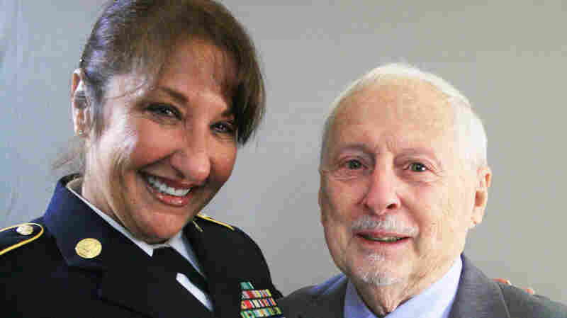 Sgt. Major Lisa Torello and Tony Cistaro, during a visit to StoryCorps.