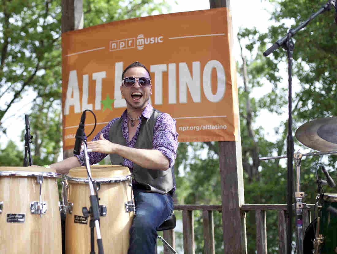 "Pete ""Maestro"" Vale from Dos Santos Anti-Beat Orquesta performs at the Alt.Latino/KUTX stage at Pachanga Festival in Austin, Texas."