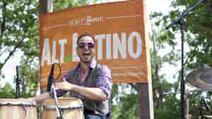 """Pete """"Maestro"""" Vale from Dos Santos Anti-Beat Orquesta performs at the Alt.Latino/KUTX stage at Pachanga Festival in Austin, Texas."""