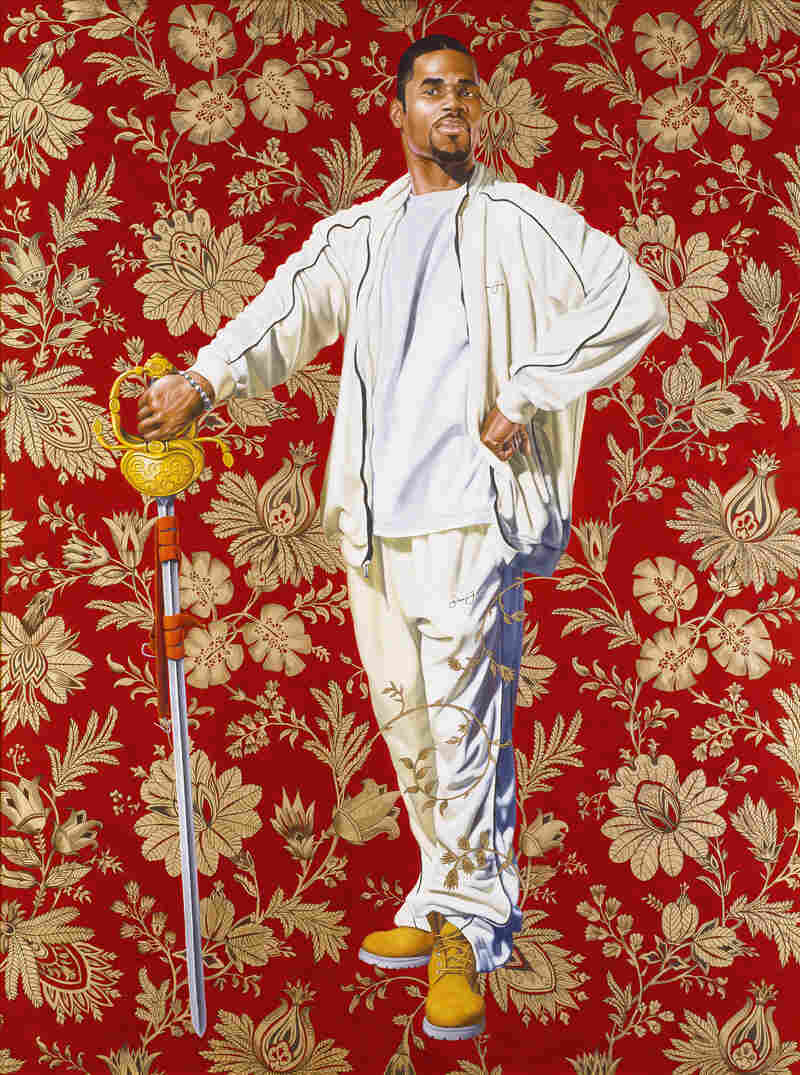 """""""Willem van Heythuysen,"""" 2005. Oil and enamel on canvas. Wiley says his subjects pick their poses from art history books — as in this take on an old Dutch painting."""
