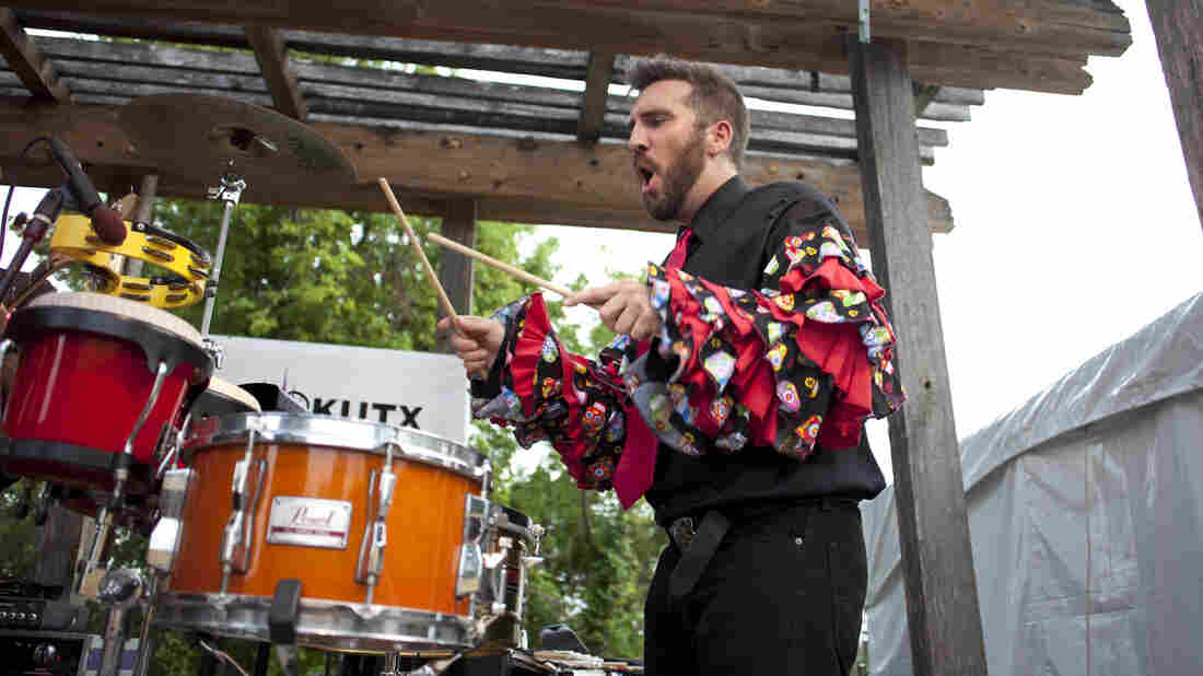 Timbalero Jack Sterbis propels the rhythm section for the Orkesta Mendoza.