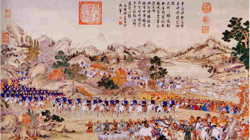The Dzungar army surrenders to Manchu officers of the Qing Dynasty in 1759 in the Ili Valley, now part of China's  Xinjiang region, in this painting made several years later by Chinese and Jesuit missionary artists.