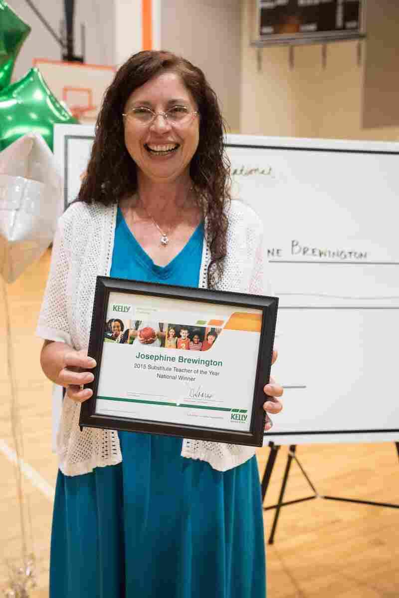 Substitute teacher Josephine Brewington receives the substitute teacher of the year award.