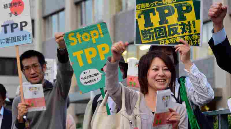 Protesters demonstrate against the Trans-Pacific Partnership (TPP) trade deal in front of the prime minister's official residence in Tokyo last year.