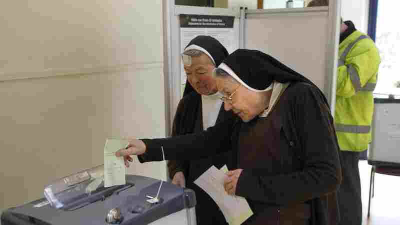 Nuns vote on a referendum to legalize same-sex marriage, at a polling station in County Dublin, Ireland, on Friday.