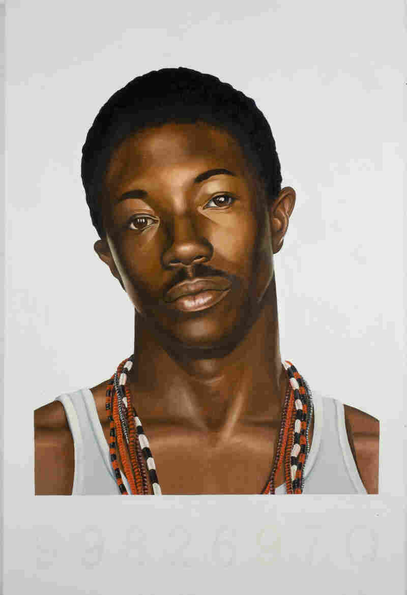 Mugshot Study (2006) was inspired by a crumpled police mug shot Wiley found on the ground in Harlem.