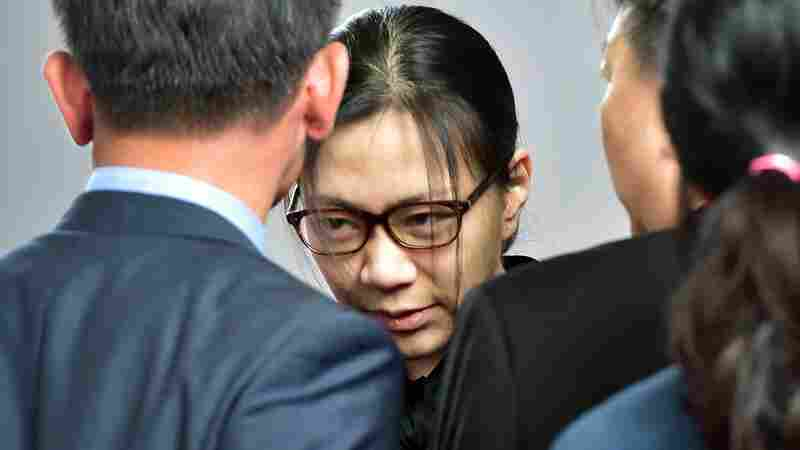 Former Korean Air executive Cho Hyun-Ah, after getting a suspended jail sentence freed by a Seoul appeals court in Seoul.