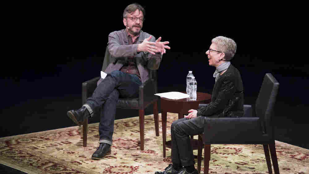"Terry Gross and Marc Maron took the stage at WNYC's RadioLoveFest on May 6. During their conversation, Gross says, Maron ""occasionally looked a little nervous or frustrated when he thought I was unforthcoming — or worse yet, being dull --€"" but mostly, he looked emotionally present, curious and attentive."""