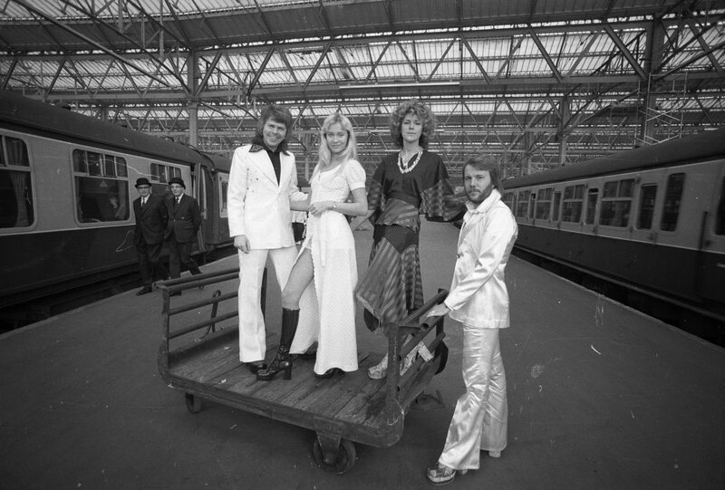 "The members of ABBA (from left): Bjorn Ulvaeus, Agnetha Faltskog, Anni-Frid Lyngstad and Benny Andersson at Waterloo station in London in 1974, the year the group won the Eurovision contest with the song ""Waterloo."""