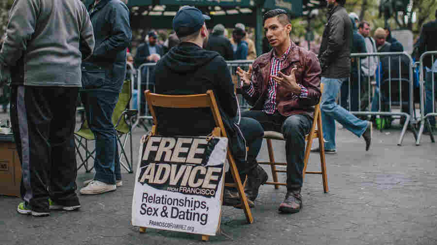 Francisco Ramirez, a sexual-health educator, offers free advice to a passerby.