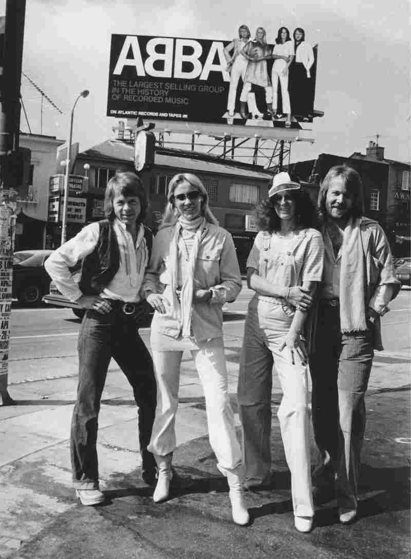 "An ABBA billboard in Los Angeles in 1978, the year after the group had its only U.S. No. 1 single, ""Dancing Queen."""