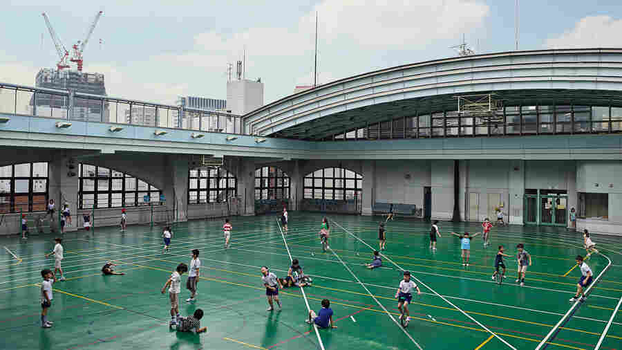 The playground at Shohei Elementary School, in Tokyo, is on the roof of a six-floor building. Students are only allowed to play with balls that are soft, to avoid injuring people on the streets below.
