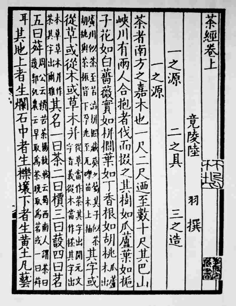 A copy of the first page of The Classic of Tea. Containing just over 7,000 classic Chinese characters, the work is brief but comprehensive.