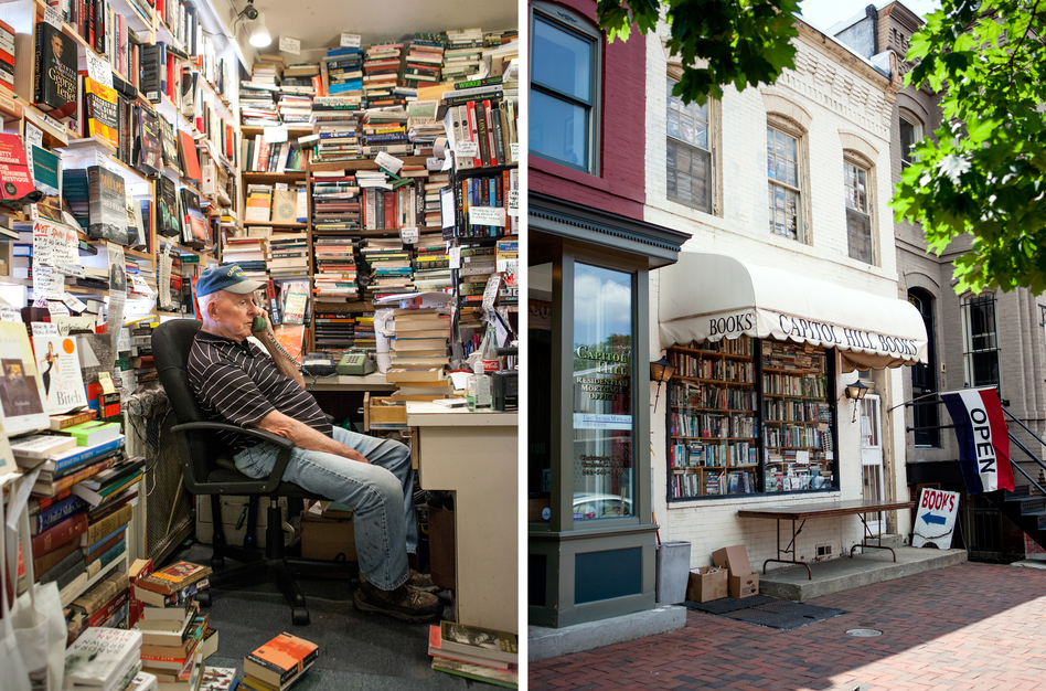 """Capitol Hill Books owner Jim Toole runs the front register of his used bookstore several days a week. He has banned several words from his store, including """"awesome,"""" """"perfect"""" and """"Amazon."""" (Ariel Zambelich/NPR)"""
