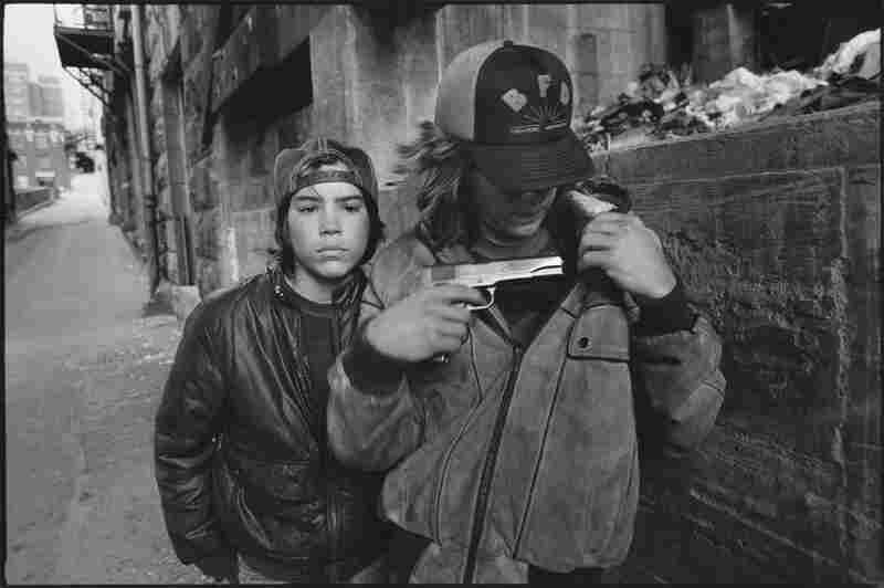 """Rat"" and Mike with a gun, Seattle, 1983"