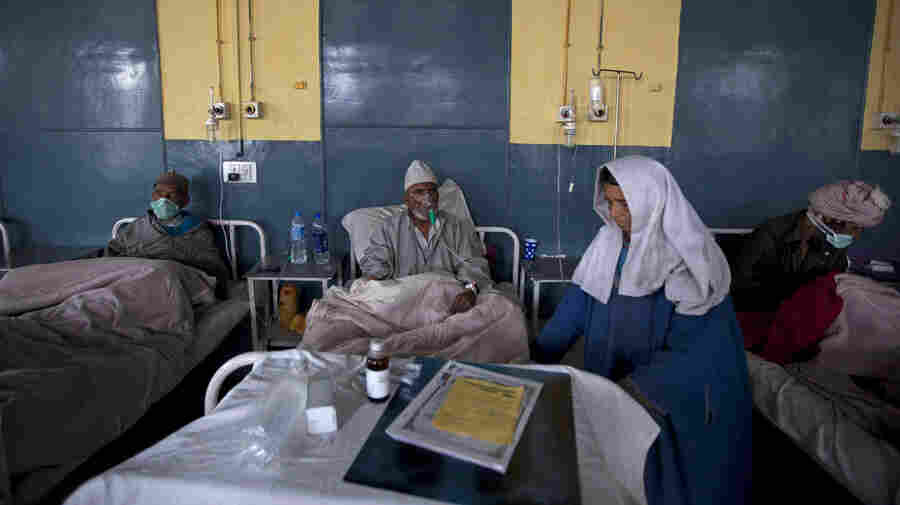 Patients receive treatment at the Chest Disease Hospital in Srinagar, India. The country has one of the highest rates of drug-resistant tuberculosis in the world, in part because antibiotics for the disease are poorly