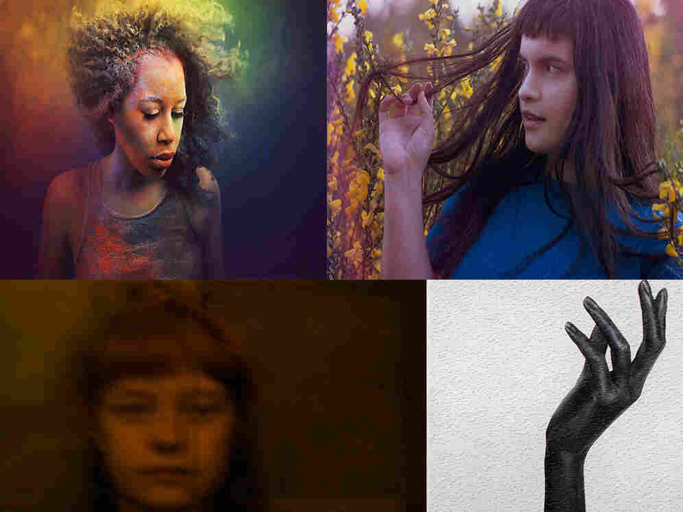 Clockwise from upper left: DeQn Sue, Briana Marela, Anna B Savage and cover art for Nao's February 15 EP.