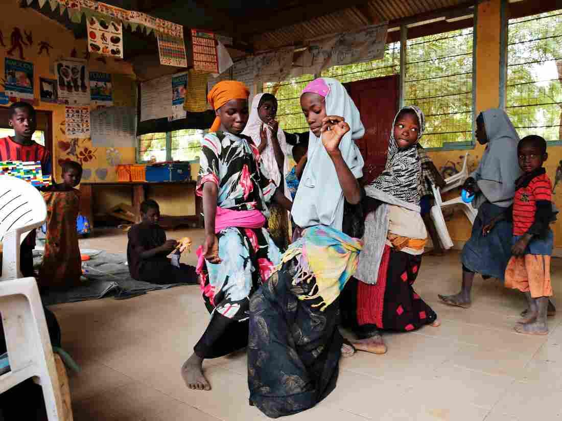 Somali children dance in the Dadaab refugee camp in Kenya.