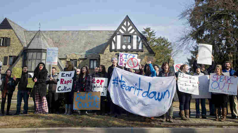 After news broke in March of a private Facebook page that collected nude photos of women, protesters gathered outside Kappa Delta Rho fraternity at Penn State. The school has banned the chapter for three years.