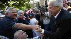 Then-U.S. Rep. Dennis Hastert greets a supporter in Yorkville, Ill., in August 2007, after he announced that he would not seek another term in Congress. Hastert was indicted May 28 on charges of evading cash-withdrawal reporting requirements and lying to the FBI, in connection with what the indictment described as $3.5 million in hush money slowly taken out and paid to an unnamed individual.