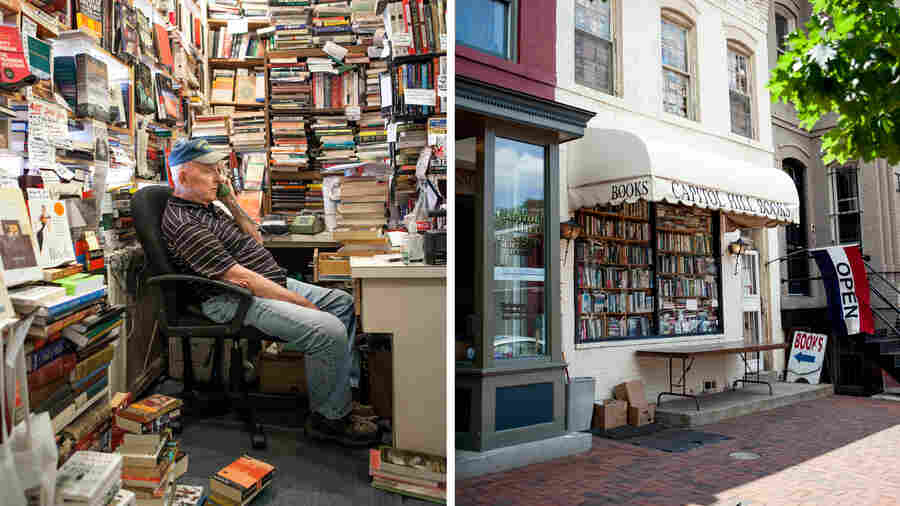 """Capitol Hill Books owner Jim Toole runs the front register of his used book store several days a week. He's banned several words from his store, including """"awesome,"""" """"perfect"""" and, of course, """"Amazon."""""""