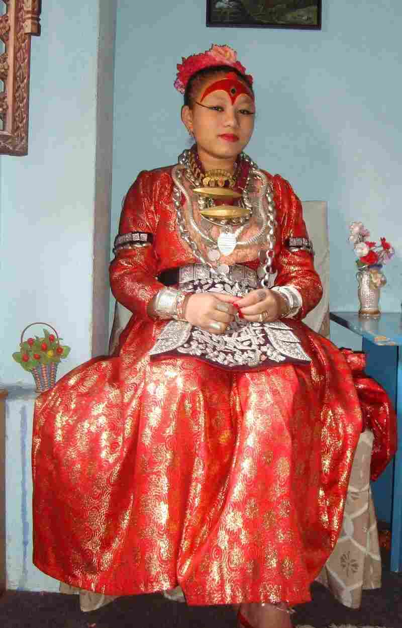 Chanira Bajracharya, now 19, was a Living Goddess. She held the position from age 5 to 15, then relinquished it in keeping with the centuries-old tradition. In this undated photo, she's shown in her regalia when she was still a Kumari.