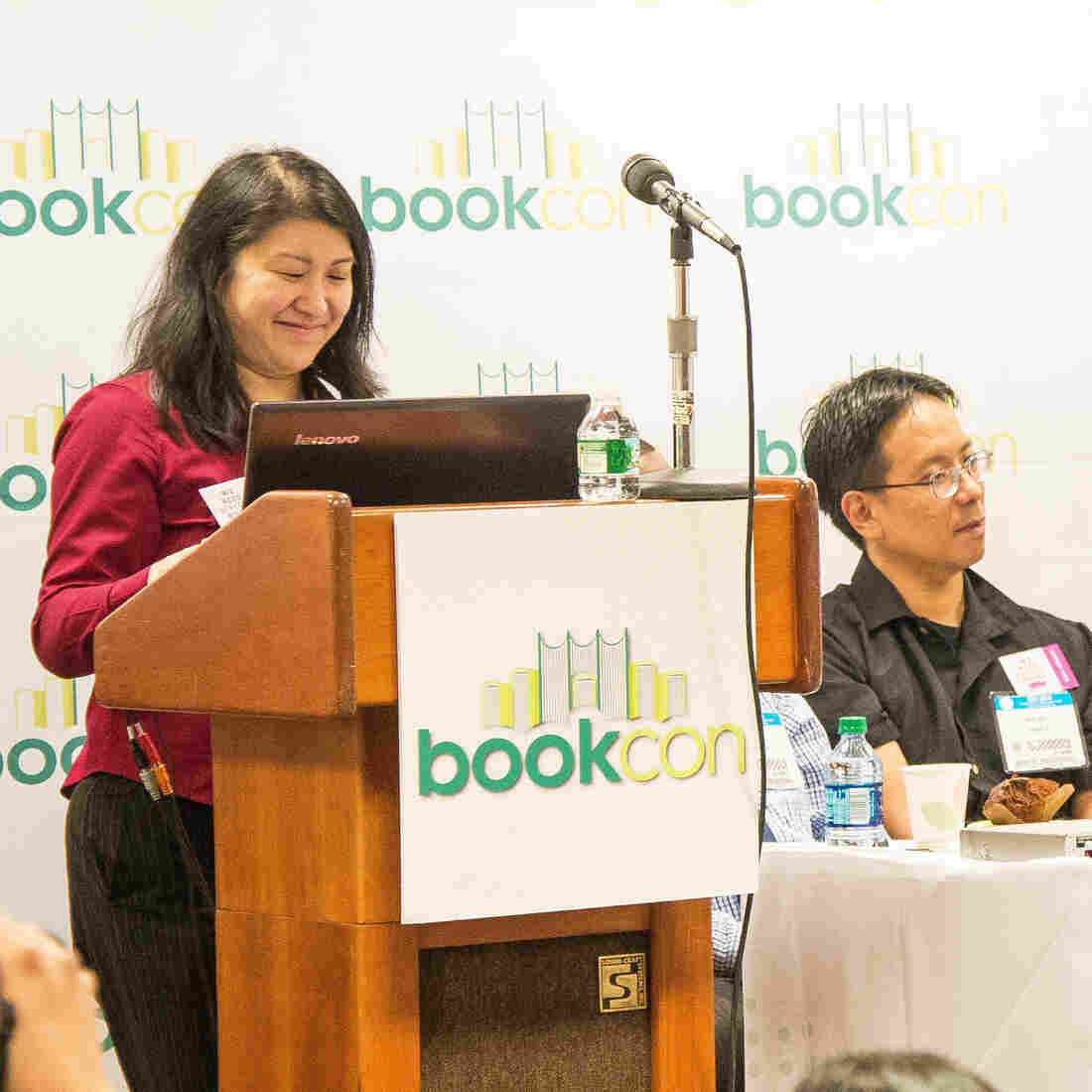 In 2014, BookCon responded to the We Need Diverse Books campaign by inviting it to form its own panel. Pictured here (from left): I.W. Gregorio, Mike Jung, Matt de la Pena, Grace Lin and Jacqueline Woodson.